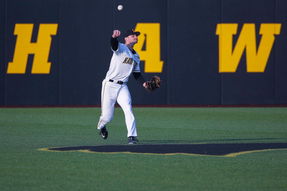 Iowa outfielder Ben Norman  at game 1 vs Rutgers on Friday, April 5, 2019 at Duane Banks Field. (Lily Smith/hawkeyesports.com)