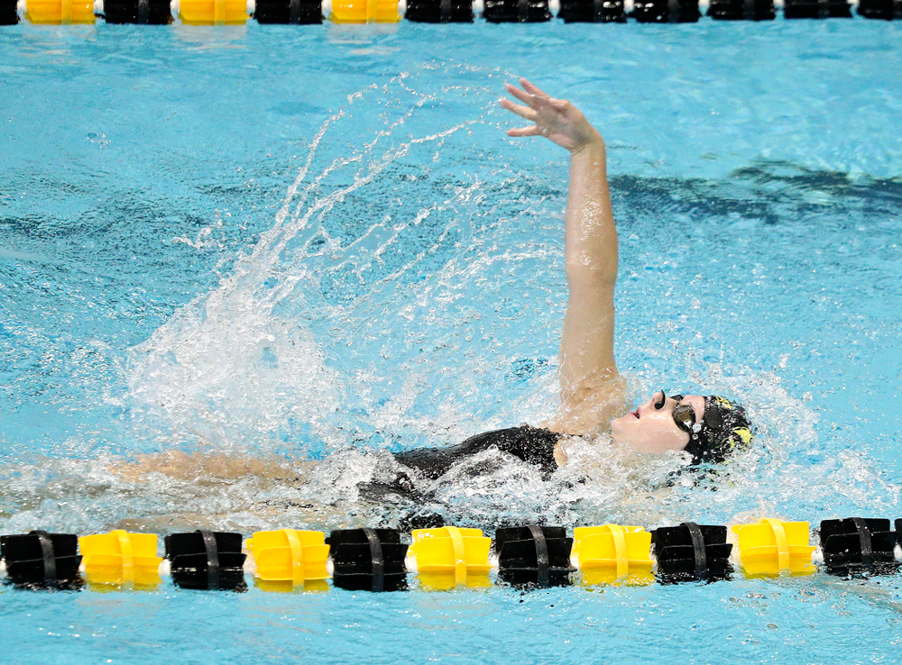Iowa's Zoe Pawloski swims the women's 200-yard backstroke event during their meet against Michigan State and Northern Iowa at the Campus Recreation and Wellness Center in Iowa City on Friday, Oct 4, 2019. (Stephen Mally/hawkeyesports.com)