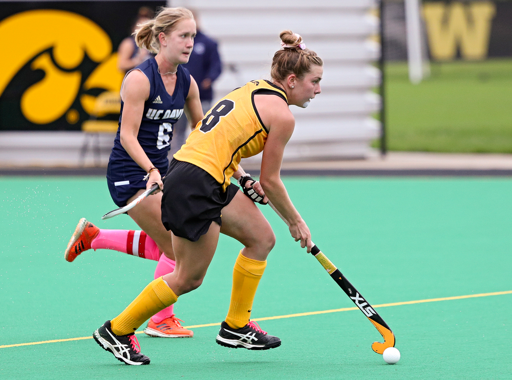 Iowa's Nikki Freeman (8) moves with the ball during the second quarter of their game against UC Davis at Grant Field in Iowa City on Sunday, Oct 6, 2019. (Stephen Mally/hawkeyesports.com)