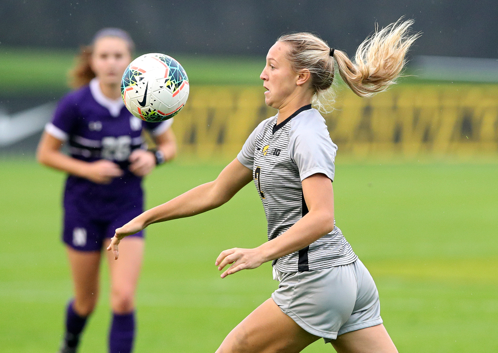 Iowa midfielder Hailey Rydberg (2) eyes the ball during the first half of their match at the Iowa Soccer Complex in Iowa City on Sunday, Sep 29, 2019. (Stephen Mally/hawkeyesports.com)