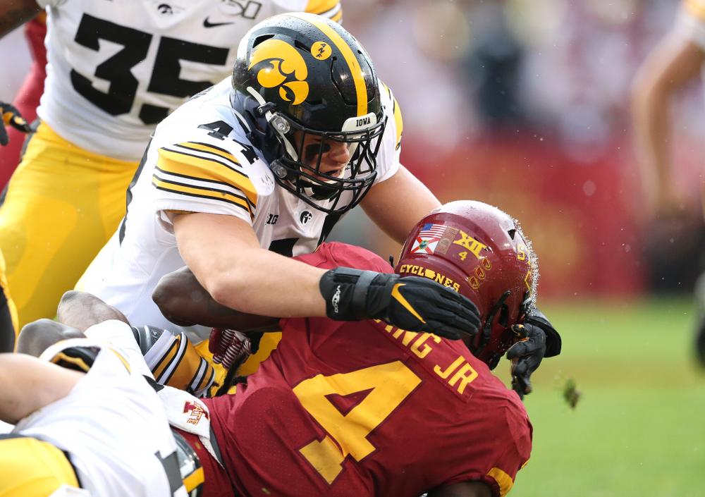 Iowa Hawkeyes linebacker Seth Benson (44) against the Iowa State Cyclones Saturday, September 14, 2019 at Jack Trice Stadium in Ames, Iowa. (Brian Ray/hawkeyesports.com)