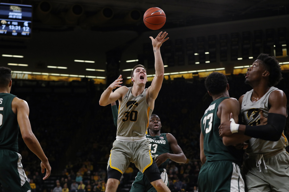 Iowa Hawkeyes guard Connor McCaffery (30) against the Michigan State Spartans Thursday, January 24, 2019 at Carver-Hawkeye Arena. (Brian Ray/hawkeyesports.com)