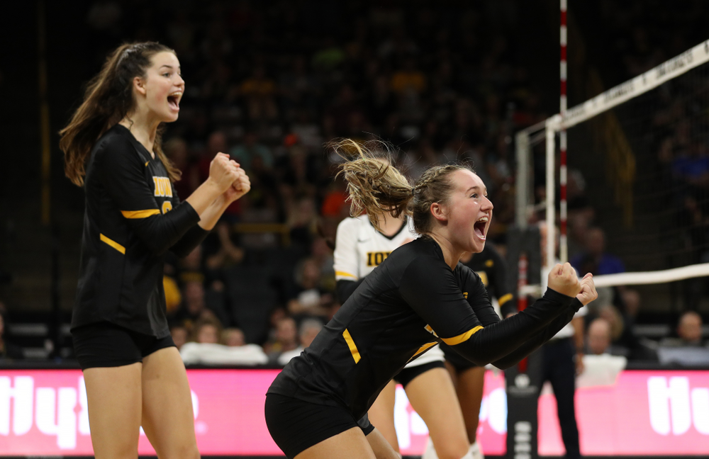 Iowa Hawkeyes defensive specialist Joslyn Boyer (1) against the Iowa State Cyclones Saturday, September 21, 2019 at Carver-Hawkeye Arena. (Brian Ray/hawkeyesports.com)