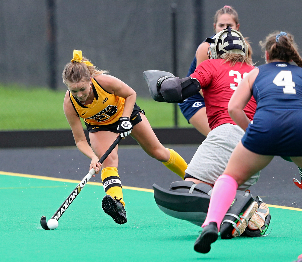 Iowa's Maddy Murphy (26) lines up a shot during the second quarter of their game against UC Davis at Grant Field in Iowa City on Sunday, Oct 6, 2019. (Stephen Mally/hawkeyesports.com)