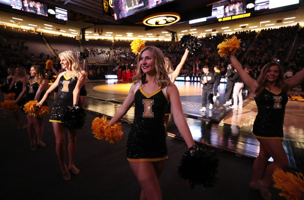 The Iowa Dance Team performs before the Iowa Hawkeyes meet against the Indiana Hoosiers Friday, February 15, 2019 at Carver-Hawkeye Arena. (Brian Ray/hawkeyesports.com)