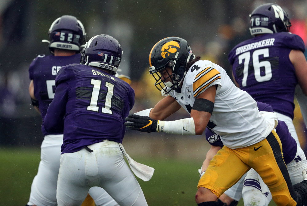 Iowa Hawkeyes defensive back Dane Belton (4) against the Northwestern Wildcats Saturday, October 26, 2019 at Ryan Field in Evanston, Ill. (Brian Ray/hawkeyesports.com)