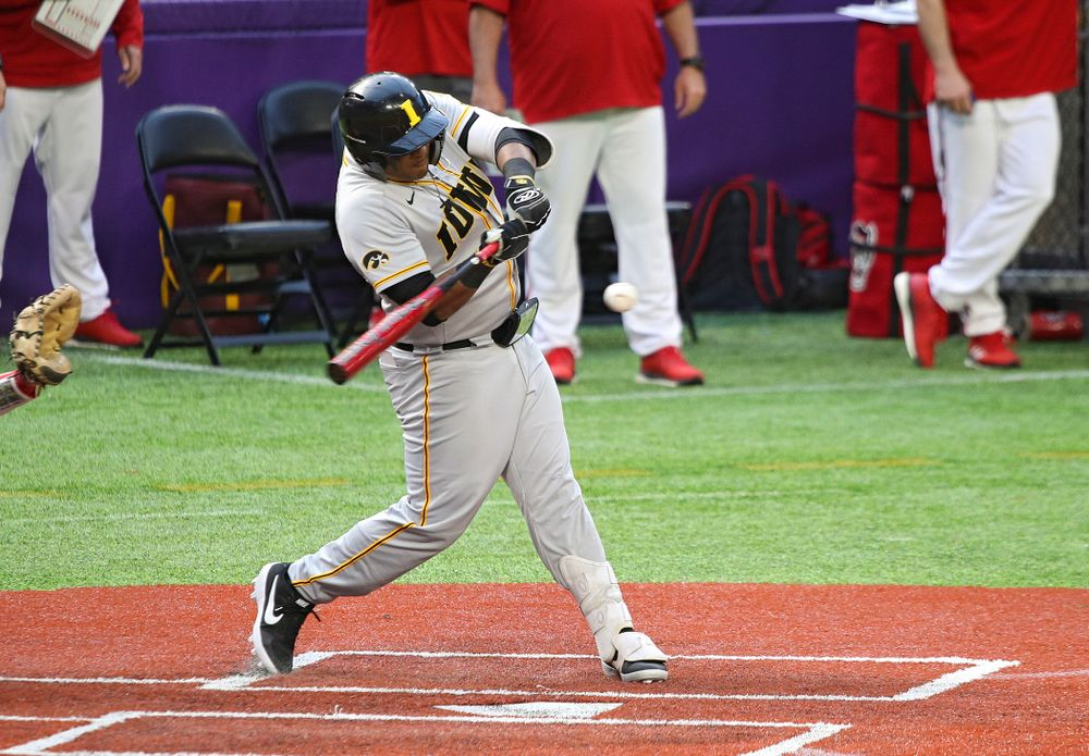 Iowa Hawkeyes infielder Izaya Fullard (20) bats during the eighth inning of their CambriaCollegeClassic game at U.S. Bank Stadium in Minneapolis, Minn. on Friday, February 28, 2020. (Stephen Mally/hawkeyesports.com)