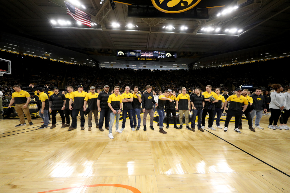 Student Athletes are recognized by the Presidential Committee on Athletics at halftime of the Iowa Hawkeyes game against Penn State Saturday, February 29, 2020 at Carver-Hawkeye Arena. (Brian Ray/hawkeyesports.com)