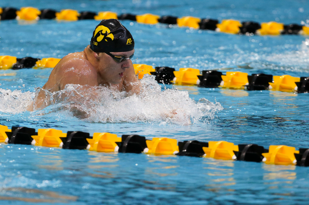 Iowa's Will Myhre during Iowa swim and dive vs Minnesota on Saturday, October 26, 2019 at the Campus Wellness and Recreation Center. (Lily Smith/hawkeyesports.com)