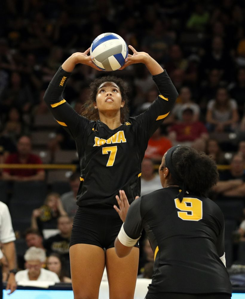 Iowa Hawkeyes setter Brie Orr (7) against the Iowa State Cyclones Saturday, September 21, 2019 at Carver-Hawkeye Arena. (Brian Ray/hawkeyesports.com)