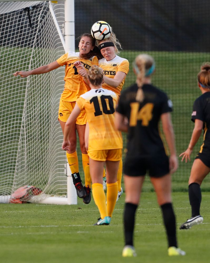 Iowa Hawkeyes Hannah Drkulec (17) and Morgan Kemmerling (3) against the Missouri Tigers Friday, August 17, 2018 at the Iowa Soccer Complex. (Brian Ray/hawkeyesports.com)