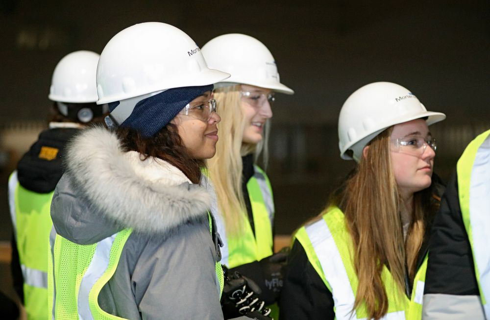 Iowa's Brie Orr looks on as the Iowa Volleyball team and staff take a construction tour of Xtream Arena in Coralville on Thursday, January 30, 2020. (Stephen Mally/hawkeyesports.com)