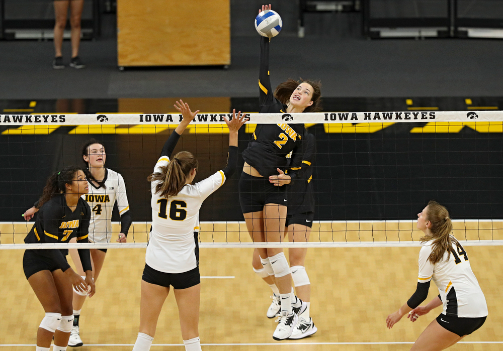 Iowa's Courtney Buzzerio (2) during the first set of the Black and Gold scrimmage at Carver-Hawkeye Arena in Iowa City on Saturday, Aug 24, 2019. (Stephen Mally/hawkeyesports.com)