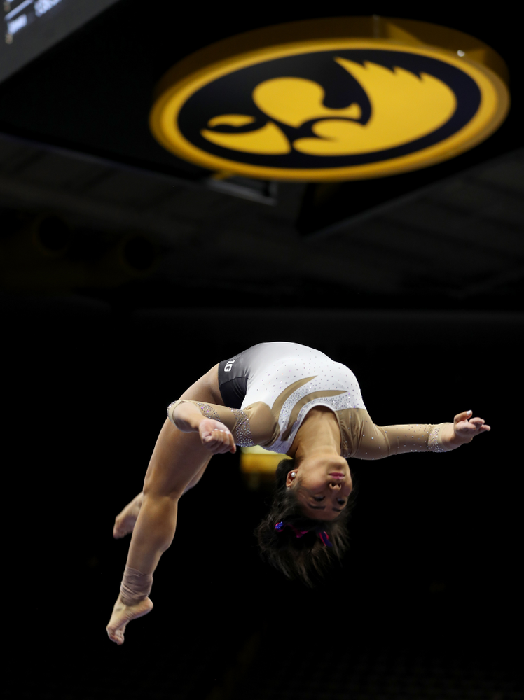 IowaÕs Clair Kaji competes on the beam against Ball State and Air Force Saturday, January 11, 2020 at Carver-Hawkeye Arena. (Brian Ray/hawkeyesports.com)