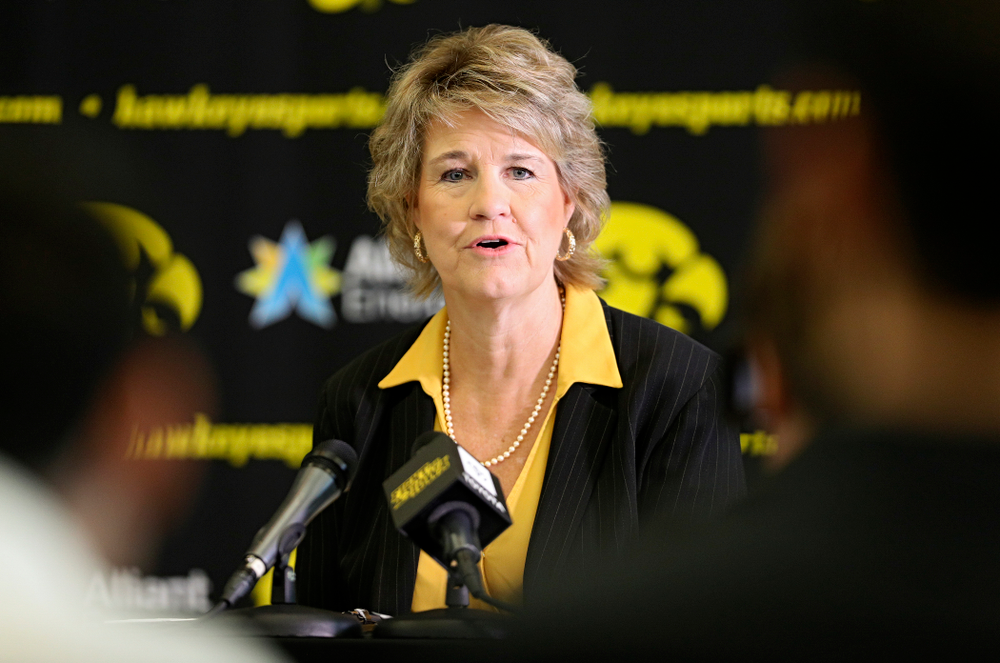 Iowa head coach Lisa Bluder answers questions during Iowa Women's Basketball Media Day at Carver-Hawkeye Arena in Iowa City on Thursday, Oct 24, 2019. (Stephen Mally/hawkeyesports.com)