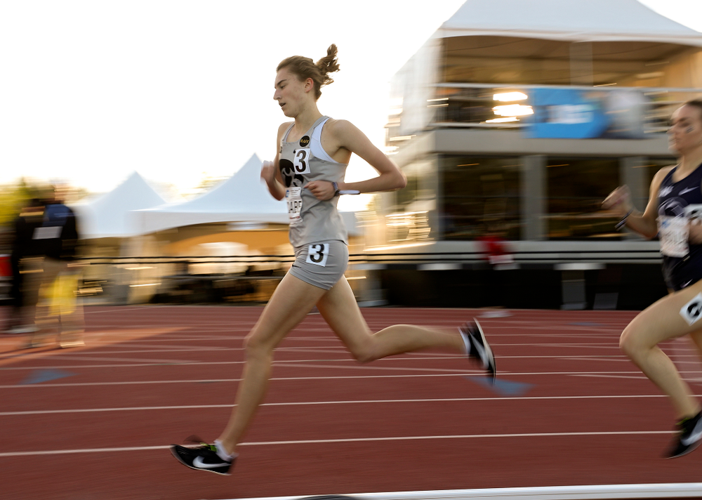 Iowa's Grace McCabe runs the women's 1500 meter event on the first day of the Big Ten Outdoor Track and Field Championships at Francis X. Cretzmeyer Track in Iowa City on Friday, May. 10, 2019. (Stephen Mally/hawkeyesports.com)