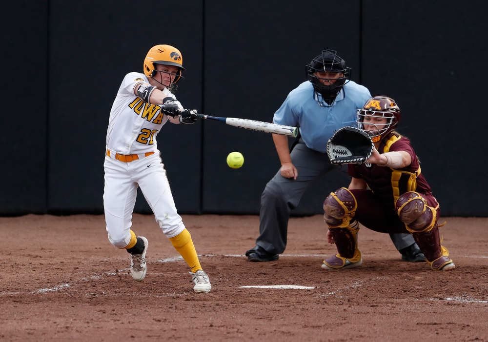 Iowa Hawkeyes outfielder Cheyenne Pratt (27) against the Minnesota Golden Gophers  Thursday, April 12, 2018 at Bob Pearl Field. (Brian Ray/hawkeyesports.com)