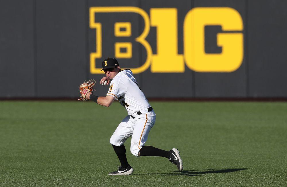 Iowa Hawkeyes infielder Mitchell Boe (4) against the Nebraska Cornhuskers Saturday, April 20, 2019 at Duane Banks Field. (Brian Ray/hawkeyesports.com)