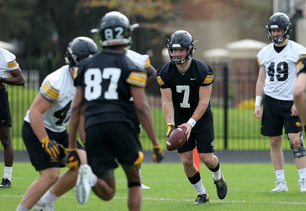 Iowa Hawkeyes punter Colten Rastetter (7) punts the ball during practice for the 2019 Outback Bowl Friday, December 28, 2018 at the University of Tampa. (Brian Ray/hawkeyesports.com)