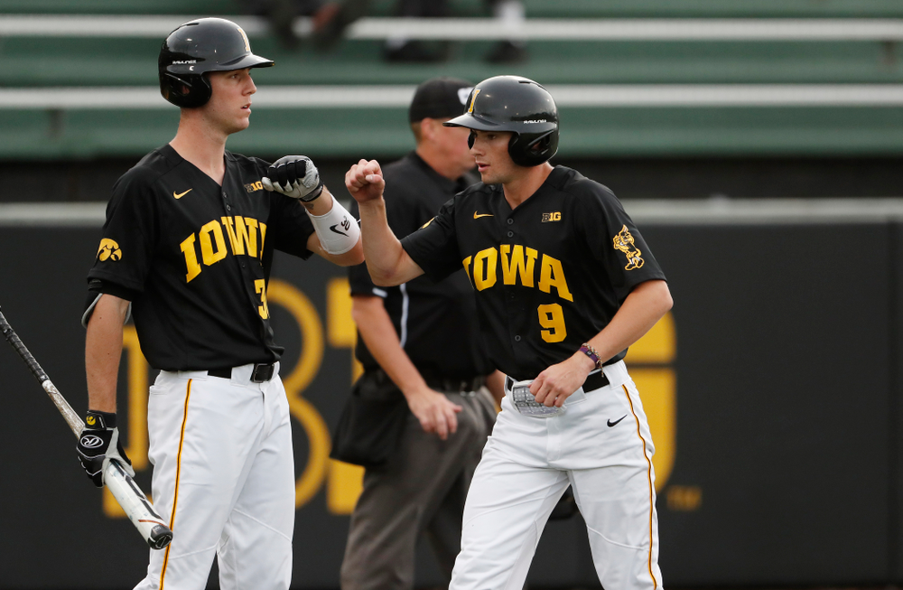 Connor McCaffery and Ben Norman against the Ontario Blue Jays Friday, September 21, 2018 at Duane Banks Field. (Brian Ray/hawkeyesports.com)
