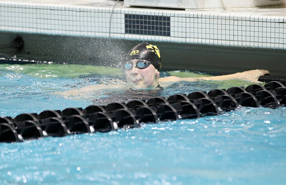 Iowa's Hannah Burvill blows water out of her mouth after swimming the women's 200 yard freestyle final event during the 2020 Women's Big Ten Swimming and Diving Championships at the Campus Recreation and Wellness Center in Iowa City on Friday, February 21, 2020. (Stephen Mally/hawkeyesports.com)