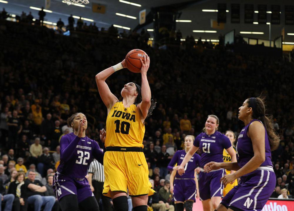 Iowa Hawkeyes forward Megan Gustafson (10) against the Northwestern Wildcats Sunday, March 3, 2019 at Carver-Hawkeye Arena. (Brian Ray/hawkeyesports.com)