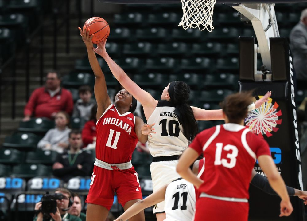 Iowa Hawkeyes forward Megan Gustafson (10) blocks a shot against the Indiana Hoosiers in the quarterfinals of the Big Ten Tournament Friday, March 8, 2019 at Bankers Life Fieldhouse in Indianapolis, Ind. (Brian Ray/hawkeyesports.com)