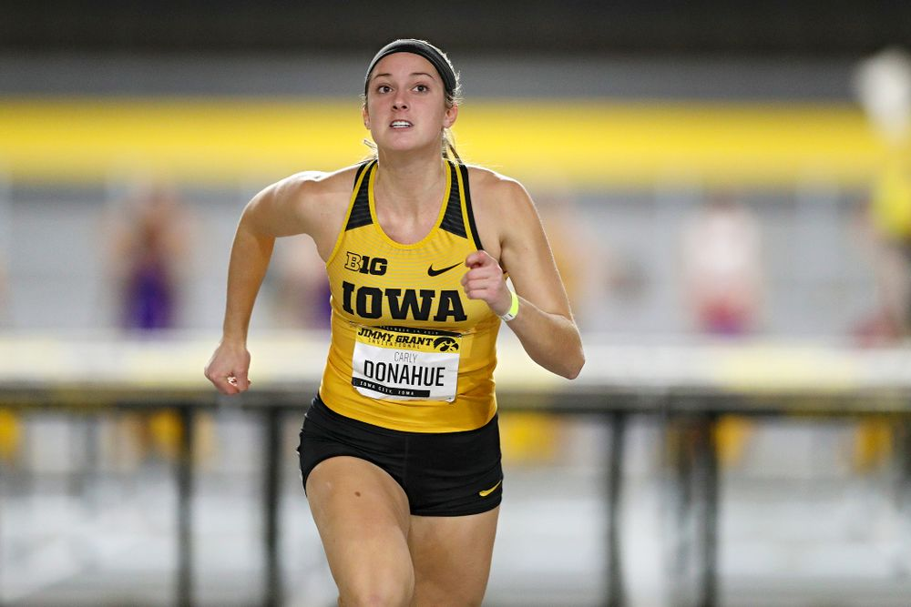 Iowa's Carly Donahue competes in the women's 60 meter hurdles prelims event during the Jimmy Grant Invitational at the Recreation Building in Iowa City on Saturday, December 14, 2019. (Stephen Mally/hawkeyesports.com)