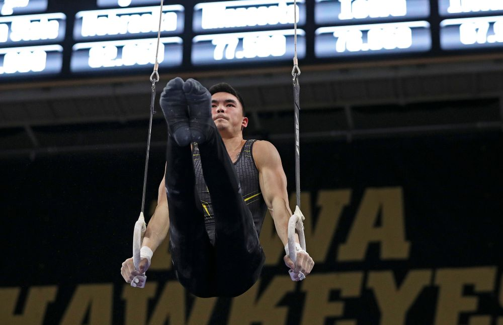 Iowa's Addison Chung competes in the rings during the first day of the Big Ten Men's Gymnastics Championships at Carver-Hawkeye Arena in Iowa City on Friday, Apr. 5, 2019. (Stephen Mally/hawkeyesports.com)
