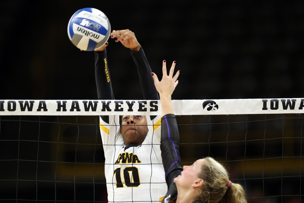 Iowa Hawkeyes outside hitter Griere Hughes (10) against Lipscomb Friday, September 20, 2019 at Carver-Hawkeye Arena. (Brian Ray/hawkeyesports.com)