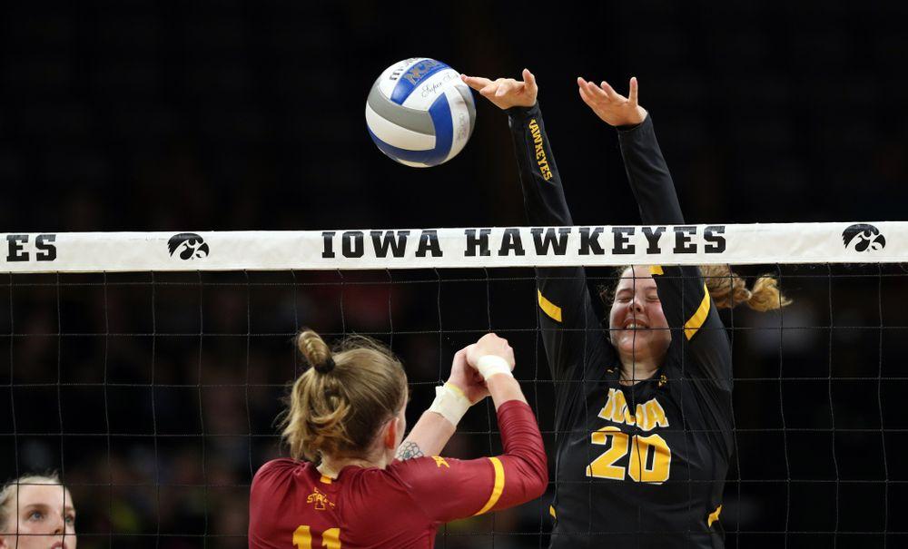 Iowa Hawkeyes outside hitter Edina Schmidt (20) against the Iowa State Cyclones Saturday, September 21, 2019 at Carver-Hawkeye Arena. (Brian Ray/hawkeyesports.com)
