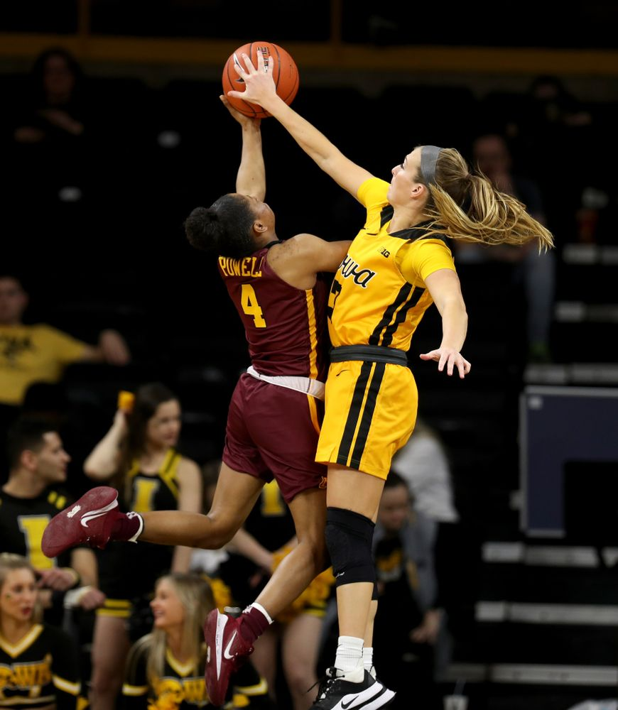 Iowa Hawkeyes guard Makenzie Meyer (3) against the Minnesota Golden Gophers Thursday, February 27, 2020 at Carver-Hawkeye Arena. (Brian Ray/hawkeyesports.com)