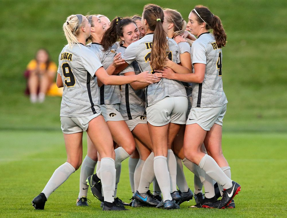 Iowa defender Sara Wheaton (24) celebrates with her teammates after scoring a goal during the first half of their match at the Iowa Soccer Complex in Iowa City on Friday, Sep 13, 2019. (Stephen Mally/hawkeyesports.com)