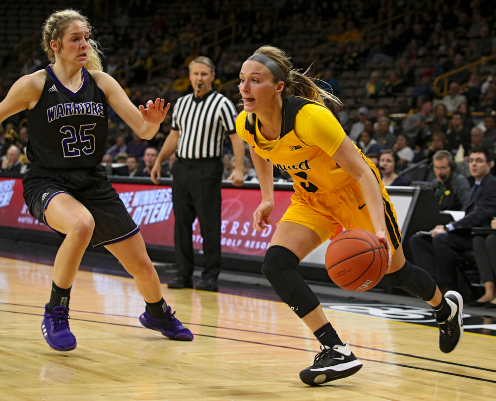 Iowa guard Makenzie Meyer (3) drives in with the ball during the third quarter of their game against Winona State at Carver-Hawkeye Arena in Iowa City on Sunday, Nov 3, 2019. (Stephen Mally/hawkeyesports.com)
