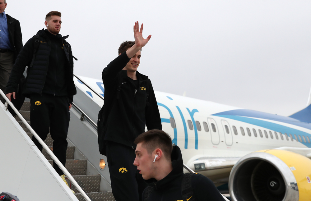 Iowa Hawkeyes forward Nicholas Baer (51) arrives in Columbus for the first and second rounds of the 2019 NCAA Men's Basketball Tournament Wednesday, March 20, 2019. (Brian Ray/hawkeyesports.com)