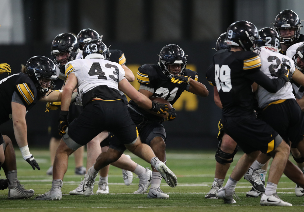 Iowa Hawkeyes running back Ivory Kelly-Martin (21) during preparation for the 2019 Outback Bowl Monday, December 17, 2018 at the Hansen Football Performance Center. (Brian Ray/hawkeyesports.com)