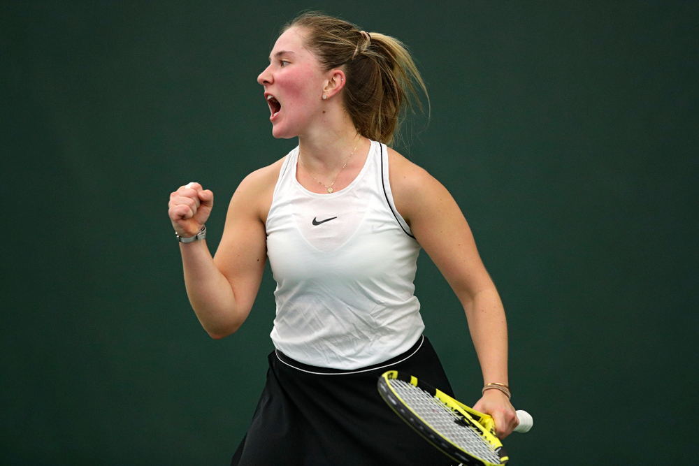 Iowa's Danielle Burich celebrates a point during her singles match at the Hawkeye Tennis and Recreation Complex in Iowa City on Sunday, February 16, 2020. (Stephen Mally/hawkeyesports.com)