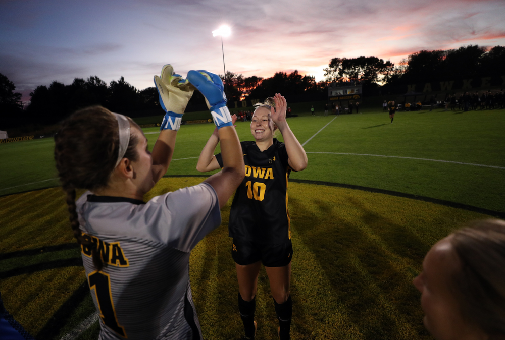 Iowa Hawkeyes goalkeeper Claire Graves (1) and midfielder/defender Natalie Winters (10) against the Nebraska Cornhuskers Thursday, October 3, 2019 at the Iowa Soccer Complex. (Brian Ray/hawkeyesports.com)