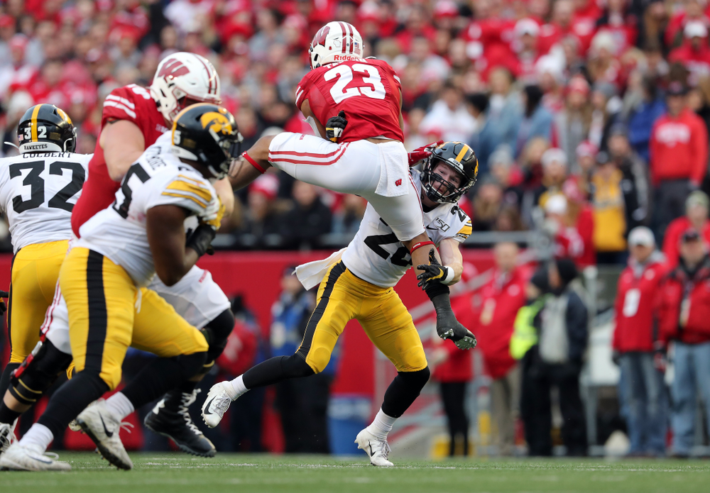Iowa Hawkeyes defensive back Jack Koerner (28) against the Wisconsin Badgers Saturday, November 9, 2019 at Camp Randall Stadium in Madison, Wisc. (Brian Ray/hawkeyesports.com)