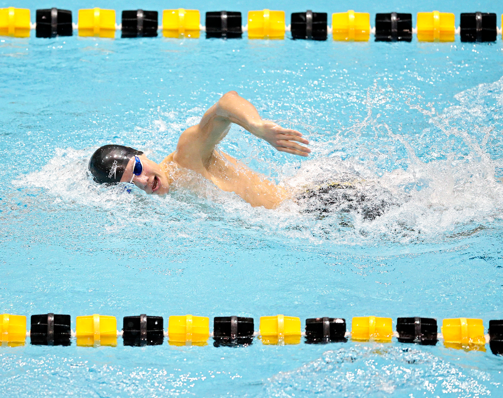 Iowa's Anze Fers Erzen swims the men's 500 yard freestyle event during their meet at the Campus Recreation and Wellness Center in Iowa City on Friday, February 7, 2020. (Stephen Mally/hawkeyesports.com)
