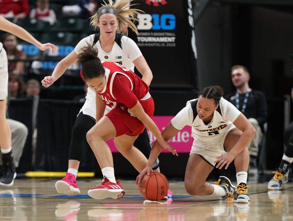 Iowa Hawkeyes guard Alexis Sevillian (5) against the Indiana Hoosiers in the quarterfinals of the Big Ten Tournament Friday, March 8, 2019 at Bankers Life Fieldhouse in Indianapolis, Ind. (Brian Ray/hawkeyesports.com)