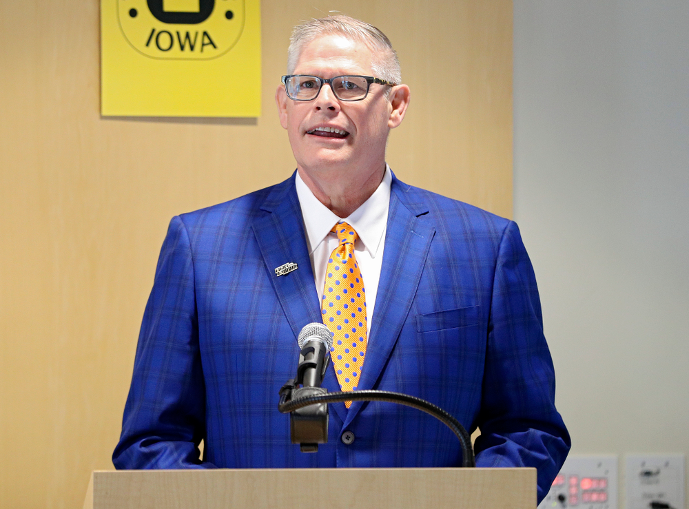 Lon Olejniczak, Iowa Varsity Club Co-Chair, speaks during the press conference to discuss FryFEST and announce the 2019 Iowa Athletics Hall of Fame members in the Varsity Club Room at the University of Iowa Athletics Hall of Fame in Iowa City on Tuesday, Jun 11, 2019. (Stephen Mally/hawkeyesports.com)