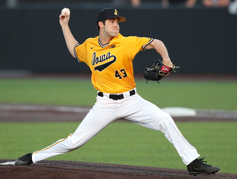 Iowa Hawkeyes pitcher Grant Leonard (43) strikes out a batter during the ninth inning of their game against Northern Illinois at Duane Banks Field in Iowa City on Tuesday, Apr. 16, 2019. (Stephen Mally/hawkeyesports.com)