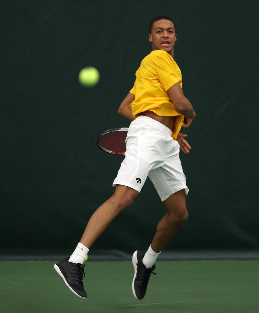 Oliver Okonkwo against Utah Sunday, February 10, 2019 at the Hawkeye Tennis and Recreation Complex. (Brian Ray/hawkeyesports.com)