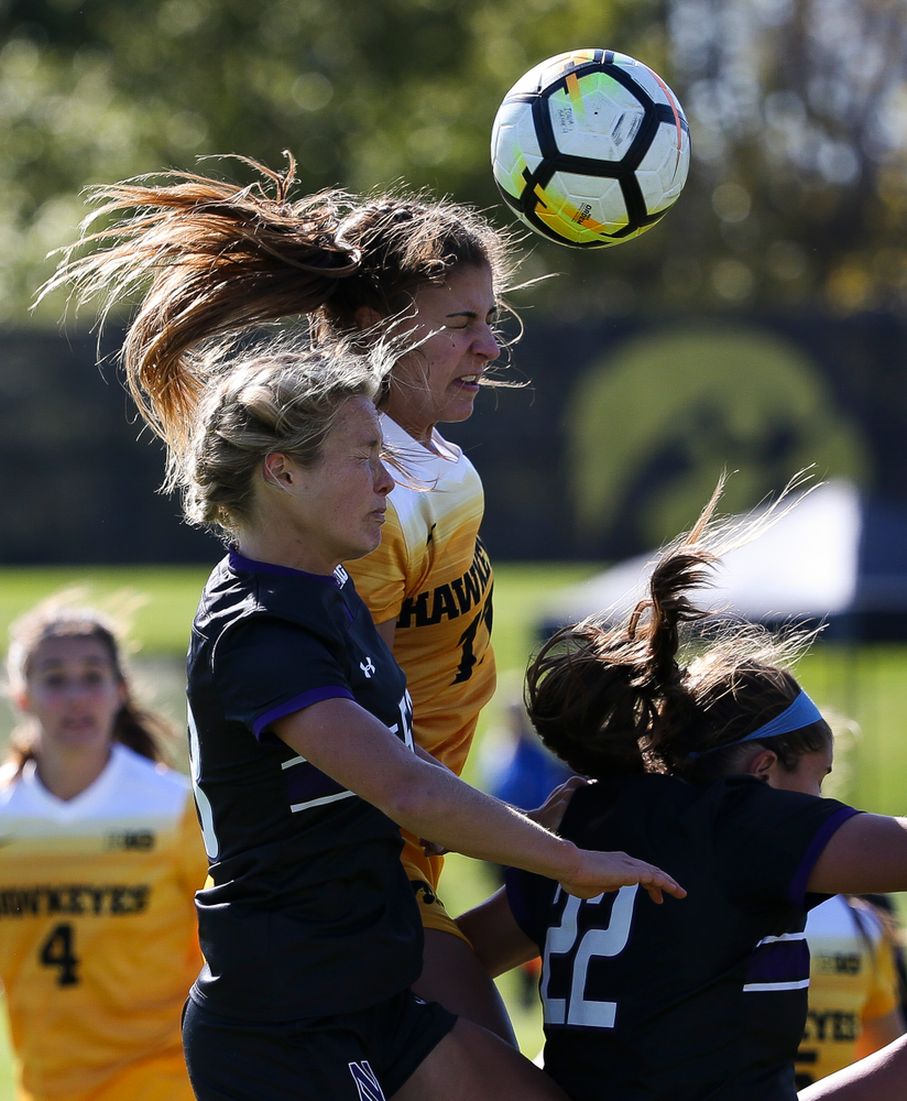 Iowa Hawkeyes defender Hannah Drkulec (17) heads the ball during a game against Northwestern at the Iowa Soccer Complex on October 21, 2018. (Tork Mason/hawkeyesports.com)