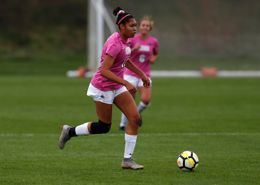 Iowa Hawkeyes Olivia Fiegel (12) against Michigan Sunday, October 14, 2018 at the Iowa Soccer Complex. (Brian Ray/hawkeyesports.com)