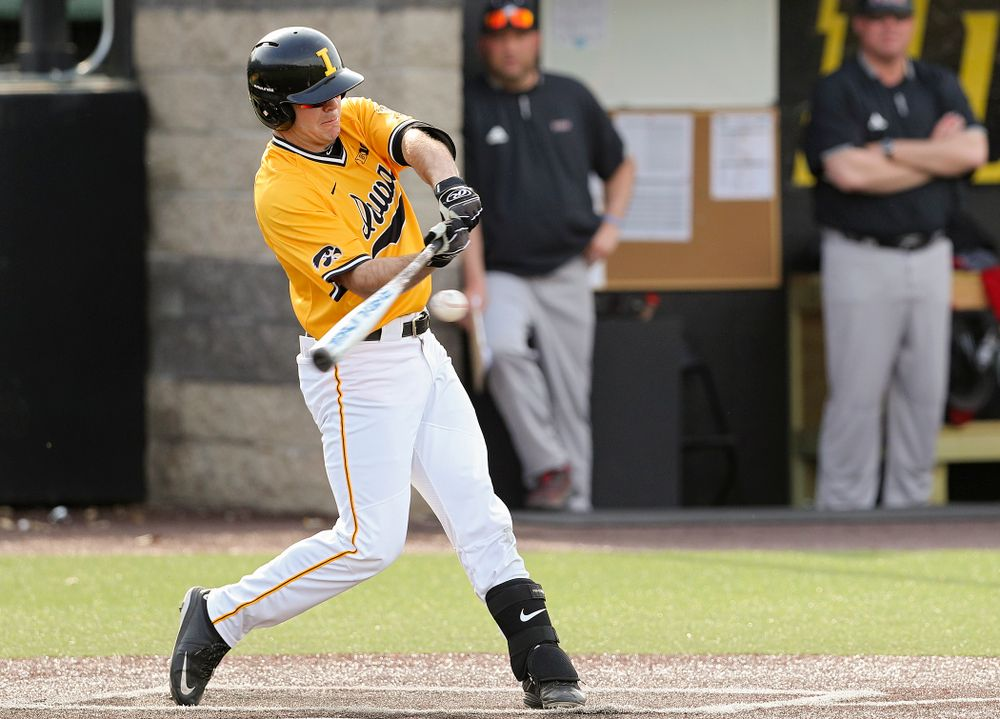 Iowa Hawkeyes right fielder Luke Farley (8) bats during the third inning of their game against Northern Illinois at Duane Banks Field in Iowa City on Tuesday, Apr. 16, 2019. (Stephen Mally/hawkeyesports.com)