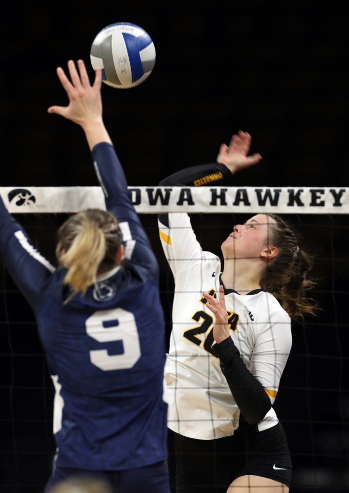 Iowa Hawkeyes outside hitter Edina Schmidt (20) against Penn State Friday, November 1, 2019 at Carver Hawkeye Arena. (Brian Ray/hawkeyesports.com)