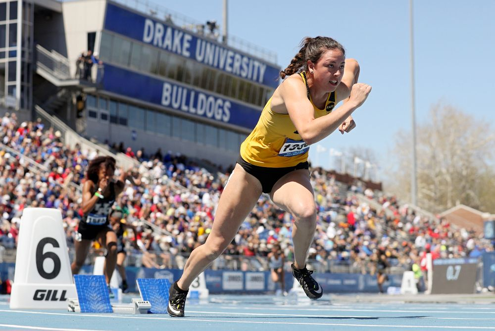 Iowa's Jenny Kimbro runs in the women's 400 meter hurdles event during the second day of the Drake Relays at Drake Stadium in Des Moines on Friday, Apr. 26, 2019. (Stephen Mally/hawkeyesports.com)