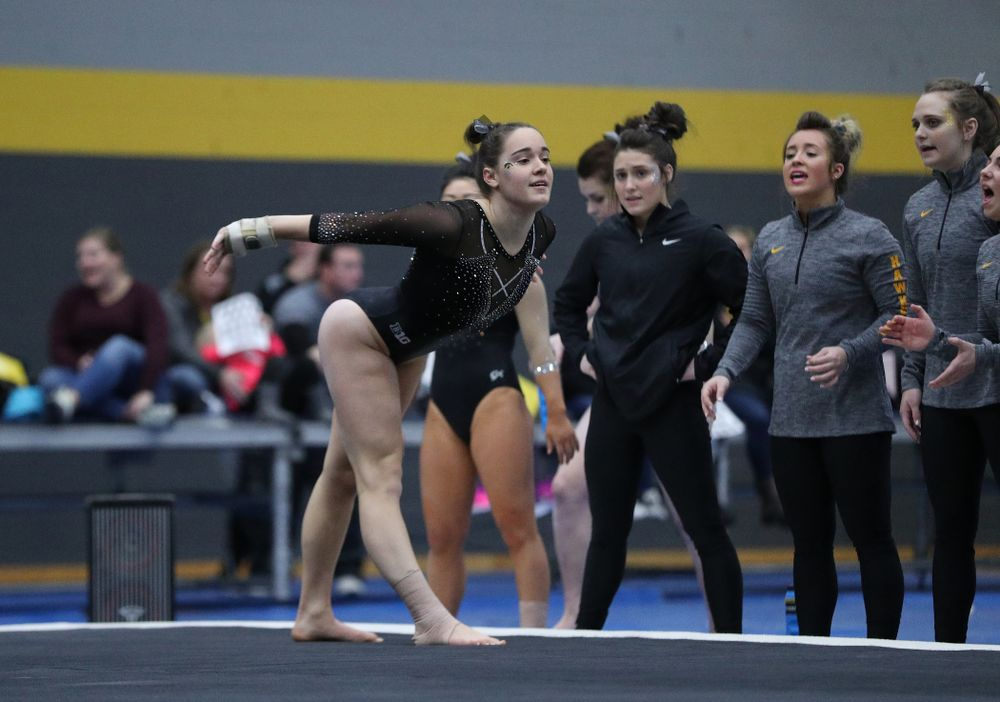 Allie Gilchrist competes on the floor during the Black and Gold intrasquad meet Saturday, December 1, 2018 at the University of Iowa Field House. (Brian Ray/hawkeyesports.com)